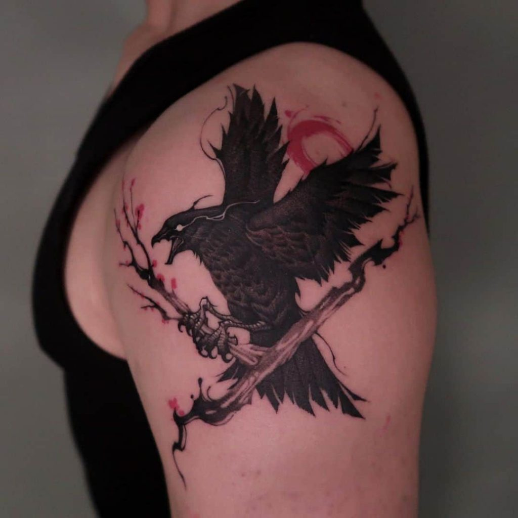 Raven-Tattoo-Designs-On-Shoulder-With-Red-Ink
