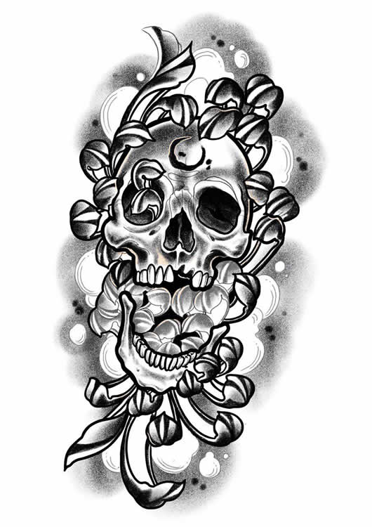 Chrysanthemum Combined With A Skull Tattoo