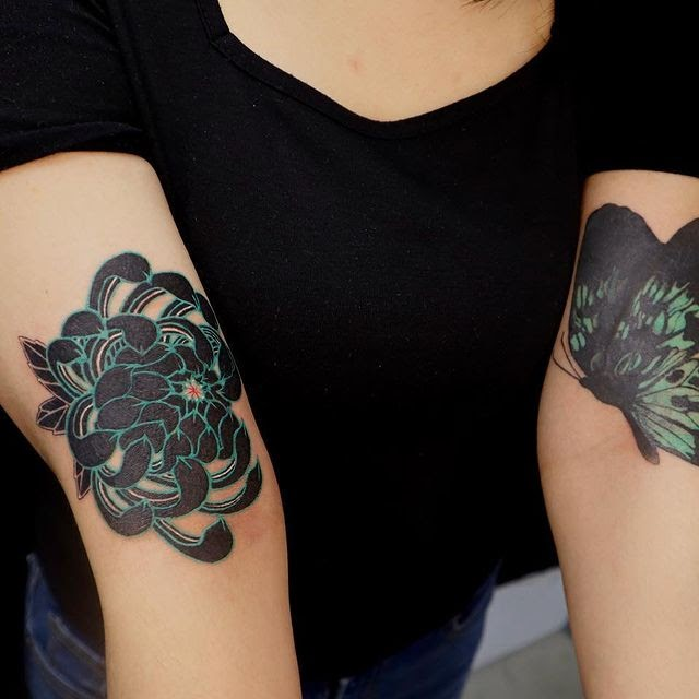 Chrysanthemum and Butterfly on Arm