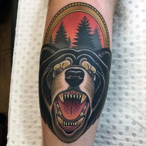 excellent-guys-neo-traditional-bear-tattoos