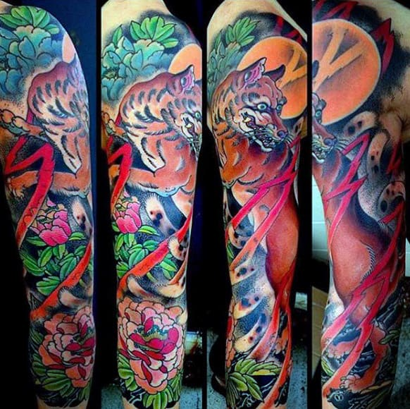 male-full-sleeves-colorful-fox-and-flower-tattoo