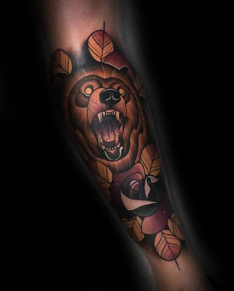 male-neo-traditional-bear-themed-tattoo-inspiration