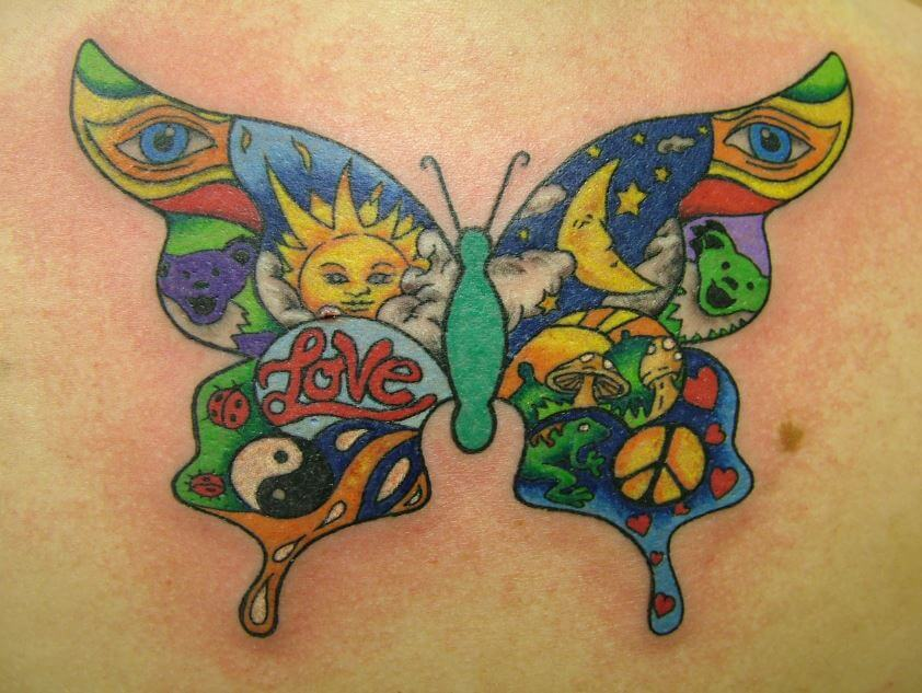 Sun and Moon Butterfly Tattoo